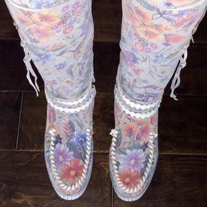 New El Vaquero yara flower suede overtheknee boot